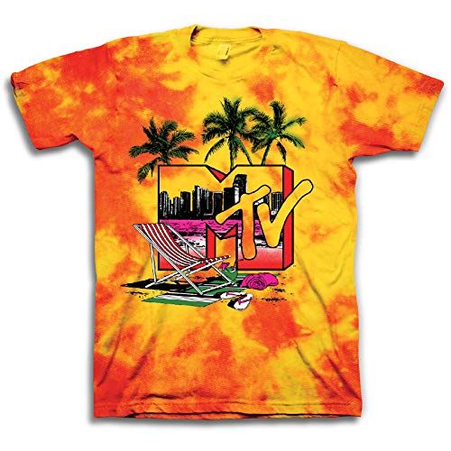 MTV Mens Tie Dye Shirt - #TBT Mens 1980's Clothing - I Want My T-Shirt (Yellow Swirl, Medium) ()