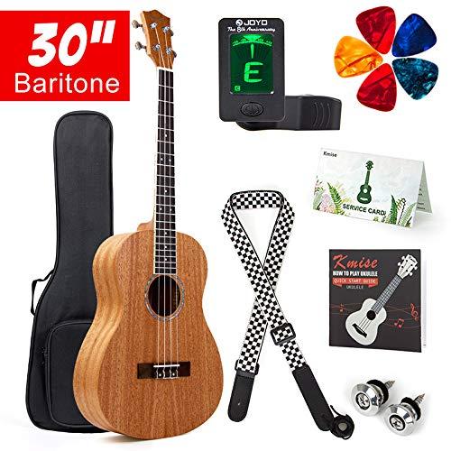 Kmise Bariton Bass Ukulele Starter Kit Mahagoni Ukele Ukulele 76, 2cm 4Saiten Ukulele Hawaii Gitarre mit Gig Tasche Tuner Gurt Plektren MI2280