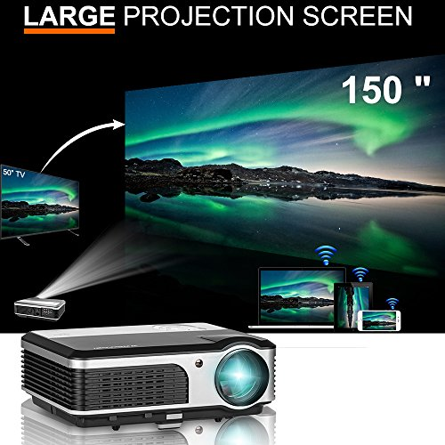 WiFi projector Portable 2600 Lumens Home Theater 1080p HD LCD Display HDMI USB VGA AV, Video Projector Android for Game Movie Party TV, Compatible with iphone Phone ipad PC Outdoor Indoor by CAIWEI
