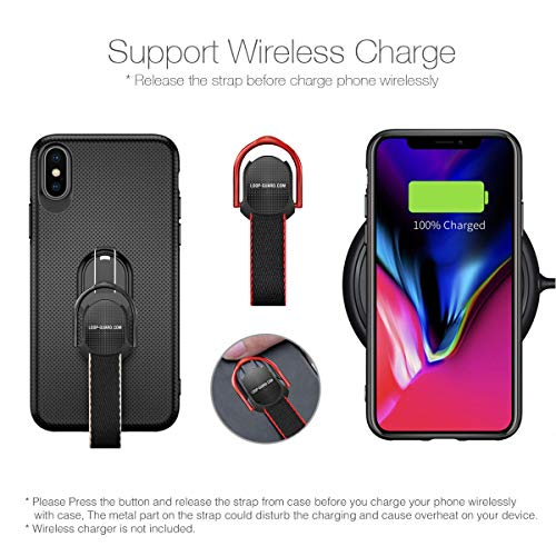 iPhone X Case with Finger Straps & Ring Holder Kickstand, Slim Fit Magnetic Rugged Cover with Grips Loop for Apple iPhone X/10, Support Magnetic Car Mount and Wireless Charging (Black) by LAVAVIK (Image #2)