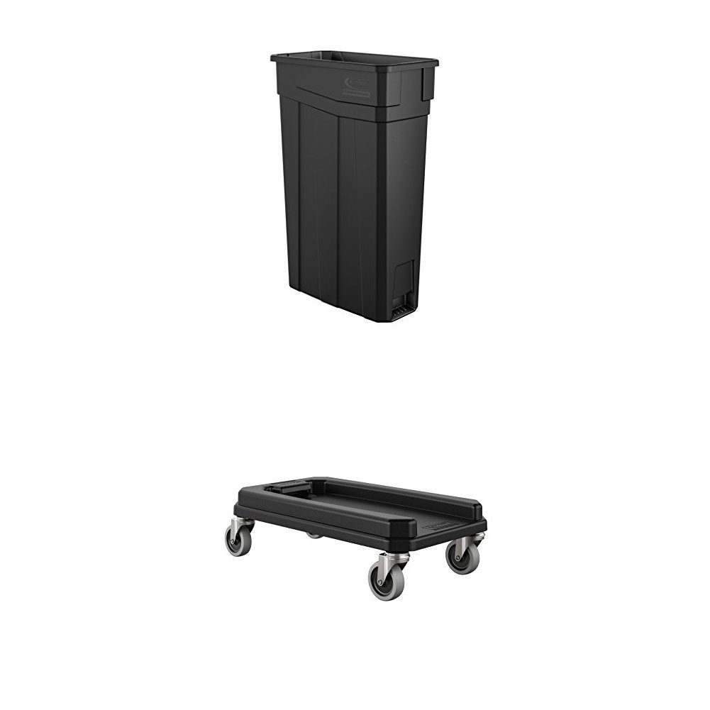 Suncast Commercial TCN2030BK Narrow Trash Can, 30.00'' Height, 11.08'' Width, 23 gal Capacity, Plastic, Black Bundle