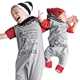 Sunbona Toddler Baby Boys Letter Dinosaur Hooded Romper Jumpsuit Clothes