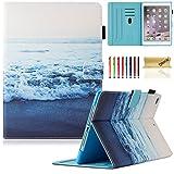 Dteck iPad 9.7 inch 2018 2017 Case/iPad Air Case/iPad Air 2 Case - Multi-Angle Viewing Auto Wake/Sleep Folio Smart Cover Stand Wallet Case for iPad 9.7 inch 2017/2018,iPad Air 1 2,Peace Sea