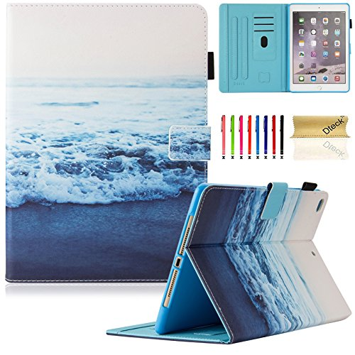 Dteck iPad 9.7 inch 2018 2017 Case/iPad Air Case/iPad Air 2 Case - Multi-Angle Viewing Auto Wake/Sleep Folio Smart Cover Stand Wallet Case for iPad 9.7 inch 2017/2018,iPad Air 1 2,Peace Sea