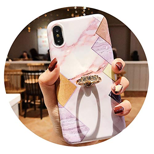 Diamond Marble Case for iPhone 7 8 6 6S Plus X XS MAX XR Fashion Phone Cases Finger Ring Soft Silicone Cover Fundas with Bracket,6,for iPhone XR