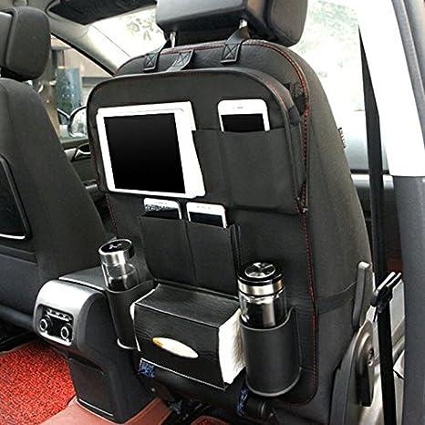 HCMAX 2 Pack Lujo Asiento Trasero del Coche Organizador Plegable Comedor Poseedor Bandeja Multifuncional Protector Bolsa de Almacenamiento Kick Mat Accesorio de Viaje Cuero de PU