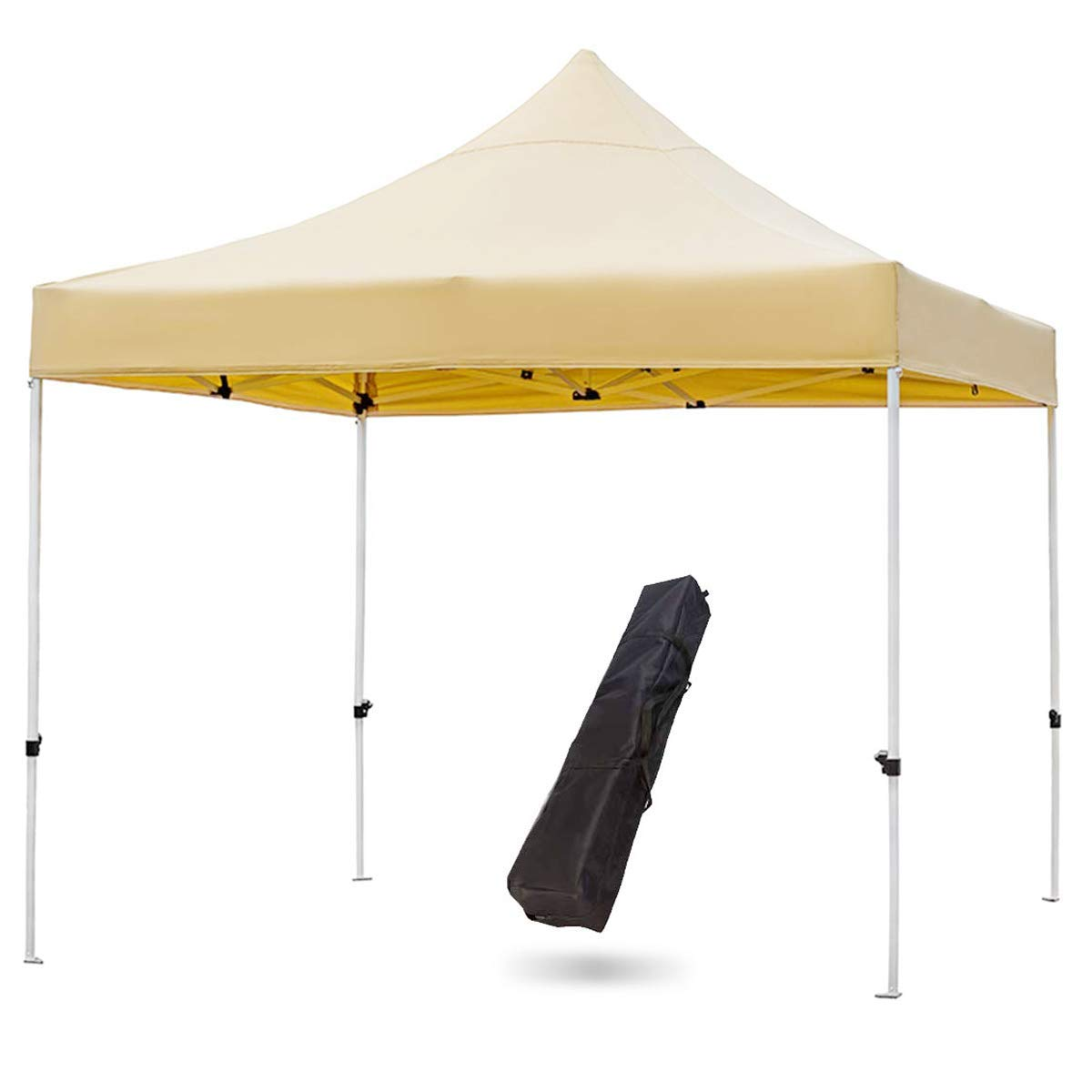 SNAIL Commercial Grade 10 x10 Outdoor Easy Pop Up Canopy Tent with Heavy Duty Aluminum Straight Leg and 420D Waterproof Top, Portable Event Party Shade Shelter with Carry Bag, Khaki