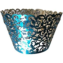 Gospire 50 pcs Pearl Lace Filigree Wedding Cupcake Wrapper Baking Cake Cups Wraps Party Decoration Laser Cut Bright Blue
