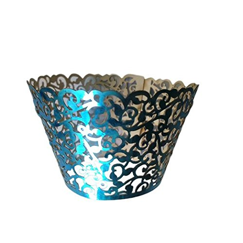 Gospire 50 pcs Pearl Lace Filigree Wedding Cupcake Wrapper Baking Cake Cups Wraps Party Decoration Laser Cut Bright Blue ()