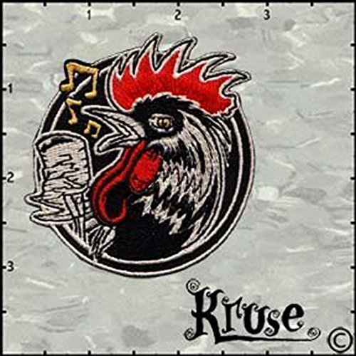 (Kruse Artist Embroidered Iron On Patch - Rockabilly Rooster Bird w/ Mic Applique)