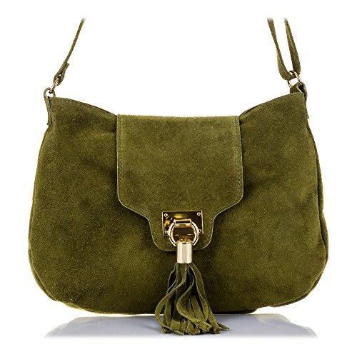 FIRENZE ARTEGIANI.Bolso de mujer piel auténtica.Bolso bandolera mujer cuero genuino GAMUZA solapa con borla y cierre diseño. MADE IN ITALY. VERA PELLE ITALIANA. 33x25x6 cm. Color: MARRON Verde