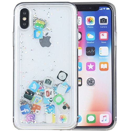 iPhone X Case, iPhone Xs Case, iYCK Hard Back Panel and Soft Rubber TPU Bumper Flowing Floating Liquid Infused Quicksand Bling Glitter Sparkle Protective Case Cover for Apple iPhone X/Xs 5.8inch - App