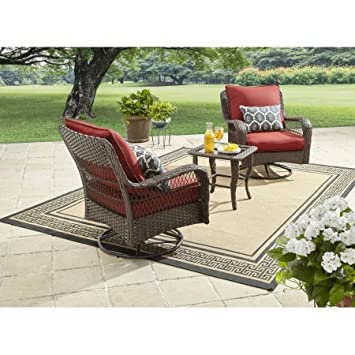 Better Homes And Gardens Colebrook 3 Piece Outdoor Chat Set, Seats 2 (Red