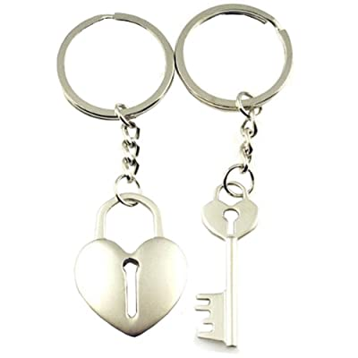 DreamsEden Cross Arrow Piece Love Heart Lock Key Couple Keychains (Gift Box & Greeting Card) Bag Key Rings Key Chain Gift for Valentine Wedding Anniversary (A Pair)