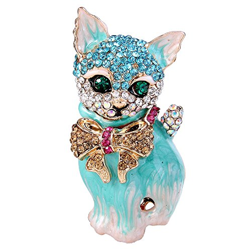 - EVER FAITH Plump 3D Cat Pet Austrian Crystal Enamel Brooch Gold-Tone Turquoise Color