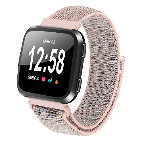 Price comparison product image Boofab For Fitbit Versa Bands Soft Nylon Women Men,  Breathable Sport Loop Band Replacement Accessories Wristband Sport Strap Lightweight for Fitbit Versa Smartwatch (Pink)