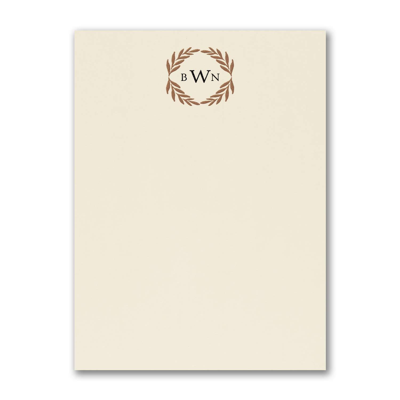 275pk Monogram Wreath - Note Card - Ecru-Note Cards