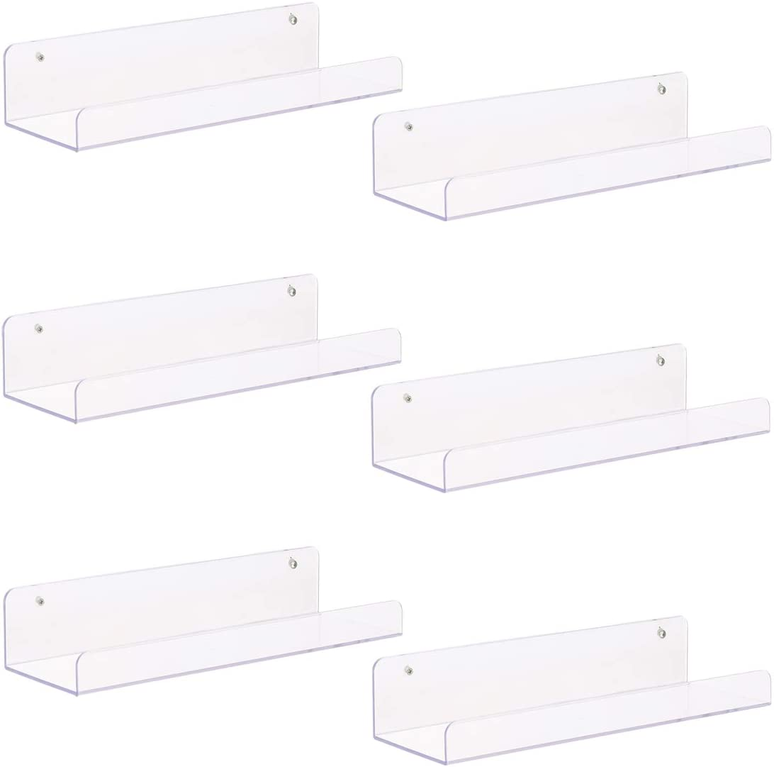 Sooyee Floating Shelves Wall Mounted Set of 6, 15 Inch Acrylic Wall Storage Ledge Shelves for Bedroom, Living Room, Bathroom, Kitchen, Office, Clear, 5 Inch Wide