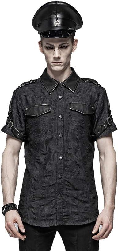 Steampunk - Camiseta de Manga Corta para Hombre, Cuello Alto, Color Negro: Amazon.es: Ropa y accesorios