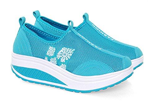 Solshine Damen Netz mit Keilabsatz Laufschuhe Sport Freizeitschuhe Atmungsaktiv Blau 4