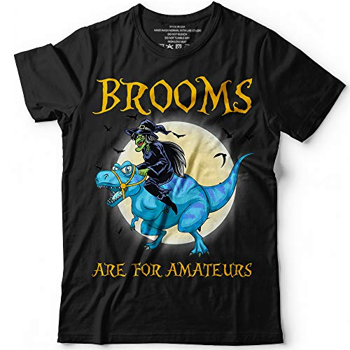 Brooms Are For Amateurs Funny Witch Riding Dinosaur Halloween Costume Customized Handmade T-Shirt Hoodie/Long Sleeve/Tank Top/Sweatshirt