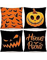"""Whaline Halloween Kussensloop Oranje Zwart Kussensloop Pompoen Bat Hocus Pocus Gooi Kussensloop Linnen Kussenslopen voor Thuiskantoor Halloween Slaapbank Decoratie, 18 """"x 18"""" (4 Stks)"""