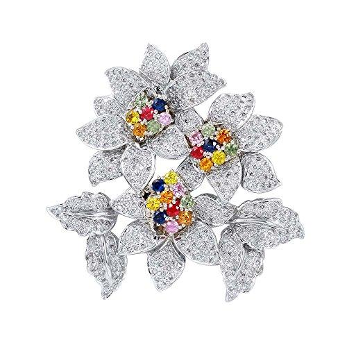 18K White Gold Multi-Color Sapphire & Round Diamond ()