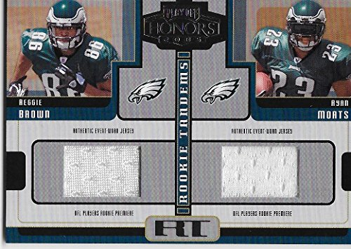 """REGGIE BROWN & RYAN MORTS 2005 DONRUSS """"PLAYOFF HONORS ROOKIE TANDEMS"""" FOOTBALL CARD GAME WORN JERSEY CARD #RT-11 (PHILADELPHIA EAGLES) FREE SHIPPING AND TRACKING from 2005 DONRUSS"""