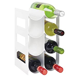 mDesign Plastic Free-Standing Water Bottle and Wine Rack Storage Organizer for Kitchen Countertops, Pantry, Fridge - BPA Free - 4 Tiers, Holds 8 Bottles - White