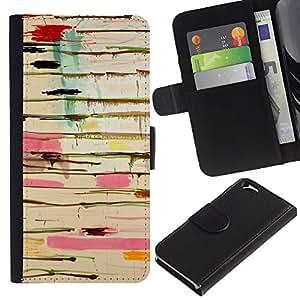 EJOY---La carpeta del tirón la caja de cuero de alta calidad de la PU Caso protector / Apple Iphone 6 / --Pintura rosada Dripping Abstract Sucias Colores