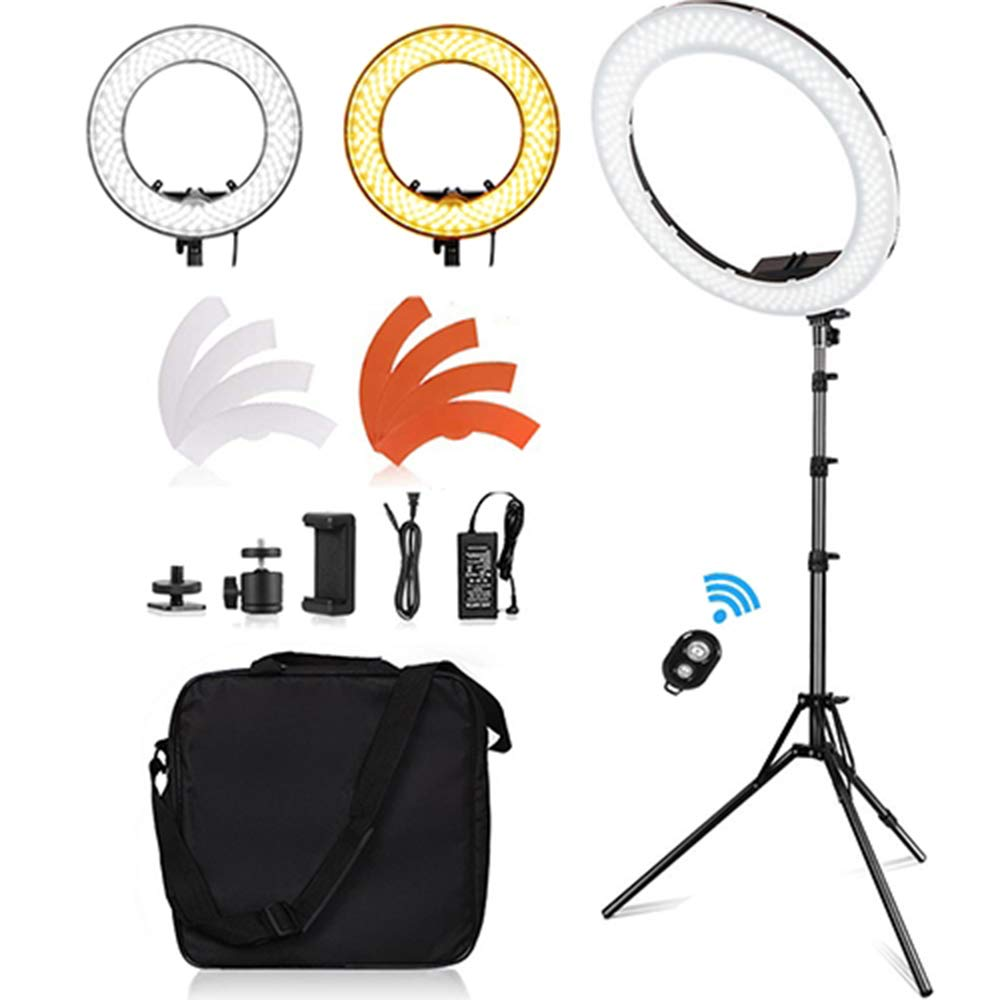 Selens Ring Light 18''/48cm Dimmable Led 55W 5500K Lighting Kit with Stand Phone Holder Carrying Bag for Beauty Selfie Makeup YouTube Video