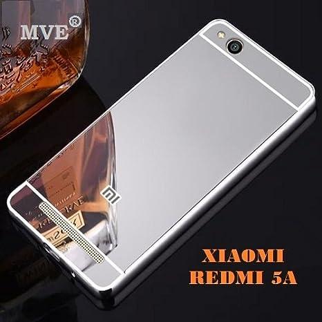 san francisco fde39 c16e9 MVE® REDMI 5A Luxury Metal Bumper With Acrylic Mirror Back Case Cover Silver