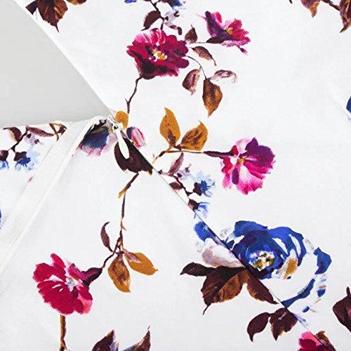 vkstar® Mujer floral vintage 1920s Rockabilly Swing Vestido De Fiesta de cócteles con lazo cuello cuadrado Rosa Azul