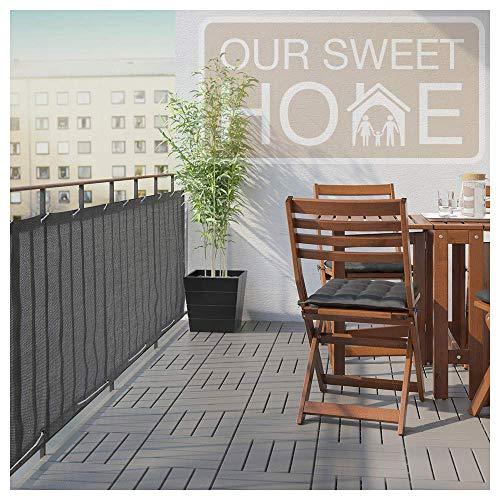 Balcony Privacy Screen Cover - Heavy Duty 210 GSM, UV and Weather Resistant, High Visibility Reduction - Includes Rope & Black Cable Ties for Porch, Patio, Apartment, Deck - Dark Gray/Grey, 3' X 16'