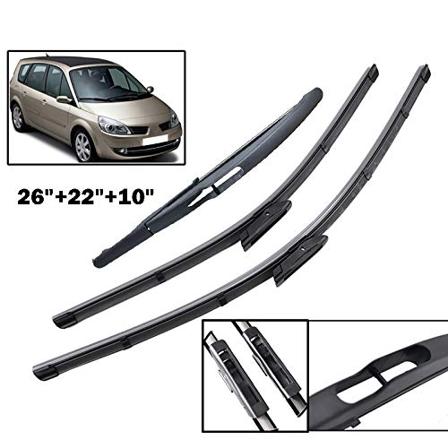 Xukey Front + Rear Windshield Wiper Blades Set Fit For Renault Scenic 2 /Grand Scenic 2 2005-2009 (Set of 3) – Go4CarZ Store