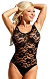 UjENA Black Sheer French Lace 1-PC Swimsuit - Size 16