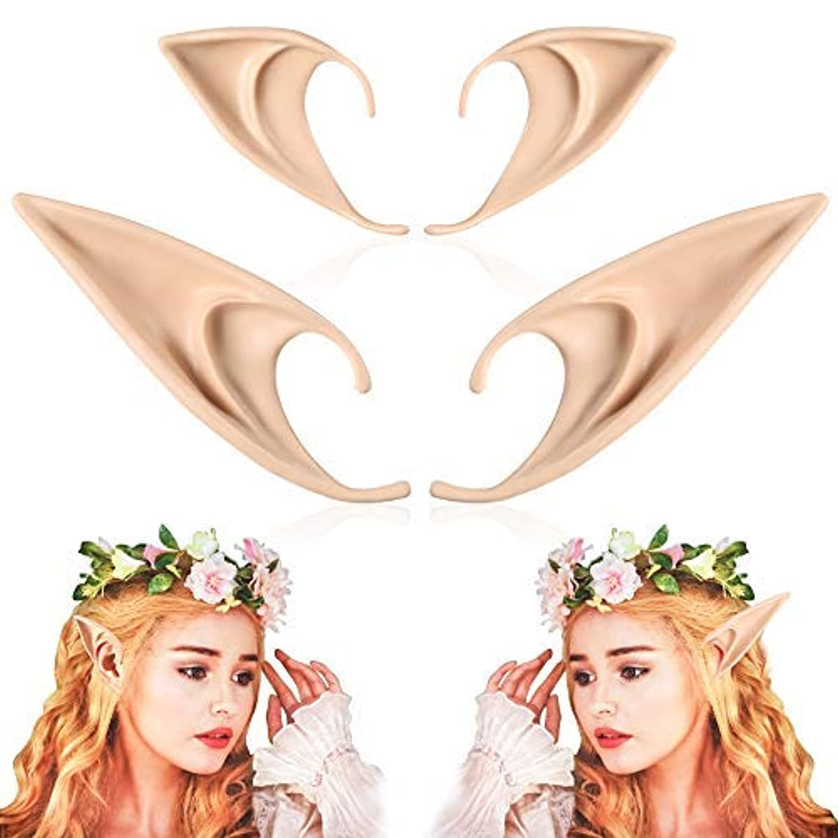 [할로윈데이 코스프레 코스튬 소품 엘프 요정귀 뱀파이어] FRESHME Pairs Medium and Long Style Cosplay Pixie Elf Soft Pointed Tips Anime Party Dress Up Costume Masquerade Accessories Halloween Elven Vampire Fairy Ears (2, Beige