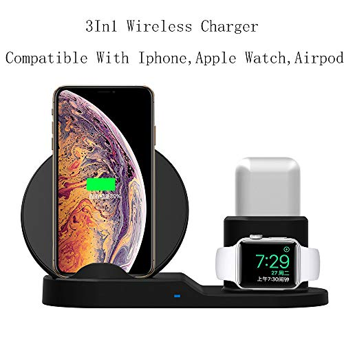 3 in 1 Wireless Charging Station,(10W/7.5W) Fast Wireless Charger Stand Dock Compatible with iPhone Xs/Xs Max/XR/X /8/8 Plus/Apple Watch Series 4/3/2/1/AirPods (AC Adapter Not Included)