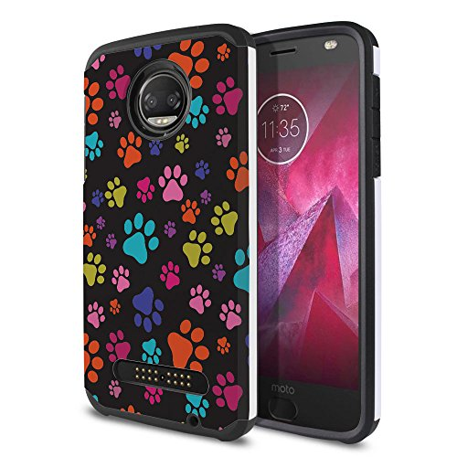 FINCIBO Case Compatible with Motorola Moto Z2 Force 2nd Gen 2017, Dual Layer Hard Back Hybrid Protector Case Cover Anti Shock TPU for Moto Z2 Force 2017 (NOT FIT Z Force 2016) - Multicolor Paws Dog