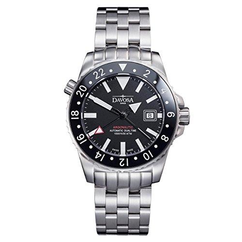 Davosa Swiss Argonautic 16151220 Analog Men Wrist Watch GMT DUAL TIME, Black