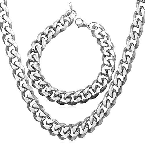 U7 Classic Cuban Chains Men Jewelry Stainless Steel Curb Chain 9MM Wide Link Bracelet Necklace Bracelet Set (22