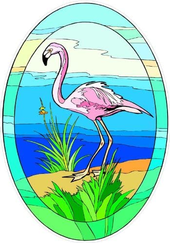 Tropical Pink Flamingo on Sand – Etched Vinyl Stained Glass Film, Static Cling Window Decal