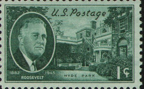1945 US Postage Stamps - 1c Blue Green Roosevelt and Hyde Park Entrance Franklin Delanor Roosevelt Issue Rotary Press Printing - Perf. 11 X 10 ()