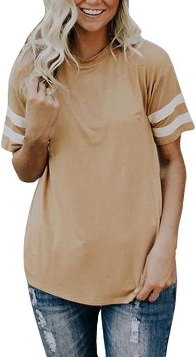 OPAKY Moda Mujer Camiseta de Manga Corta Top O-Cuello Camisa ...