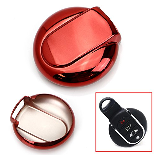 iJDMTOY Chrome Finish Red TPU Key Fob Protective Cover Case For 2014/2015-up 3rd Gen MINI Cooper F55 F56, 2017-up 2nd Gen F60 Countryman