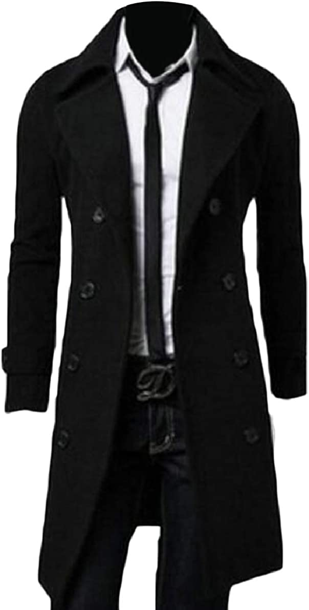 ONTBYB Mens Trenchcoat Single Breasted Pea Coat Wool Blend Overcoat
