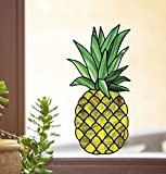 Pineapple - Stained Glass - See-Through Vinyl Window Decal - Copyright 2015 Yadda-Yadda Design Co. (XL)(9''w x 18''h)