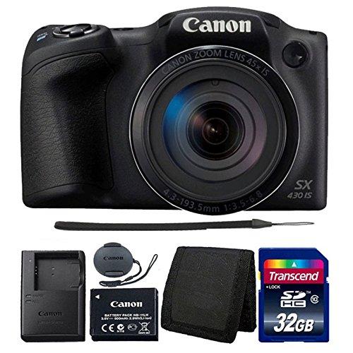 Canon PowerShot SX430 IS Black Digital Camera + 32GB Memory Card + Wallet