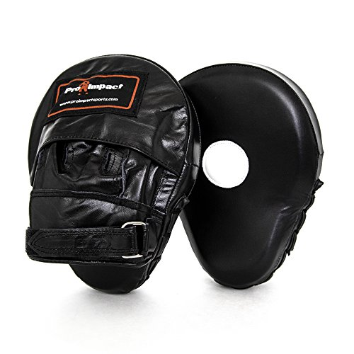 Pro Impact Curved Focus Mitts - Shock Absorbent Training Hand Pads - Ideal for Karate Boxing MMA Muay Thai or Fighting Sports Training Genuine and PU Leather (Black Genuine Leather)