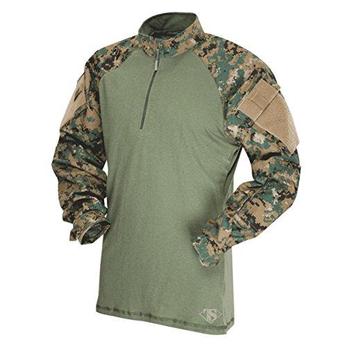 Tru-Spec 65/35 Polyester/Cotton Rip-Stop 1/4 Zip Tactical Response Combat Shirt Woodland Digital/Olive Drab 2X-Large
